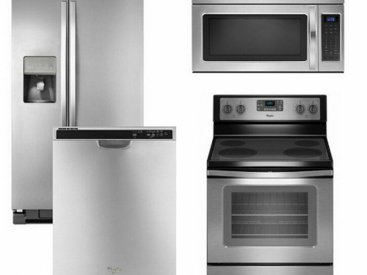 Gas Stove And Refrigerator Combo | Stainless Appliance Packages | 4 Piece Kitchen Appliance Package