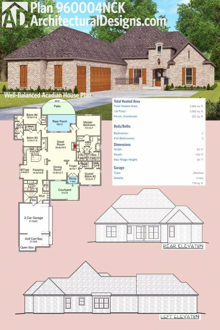 Home Design: Acadian Home Plans For Inspiring Classy Home Design ...