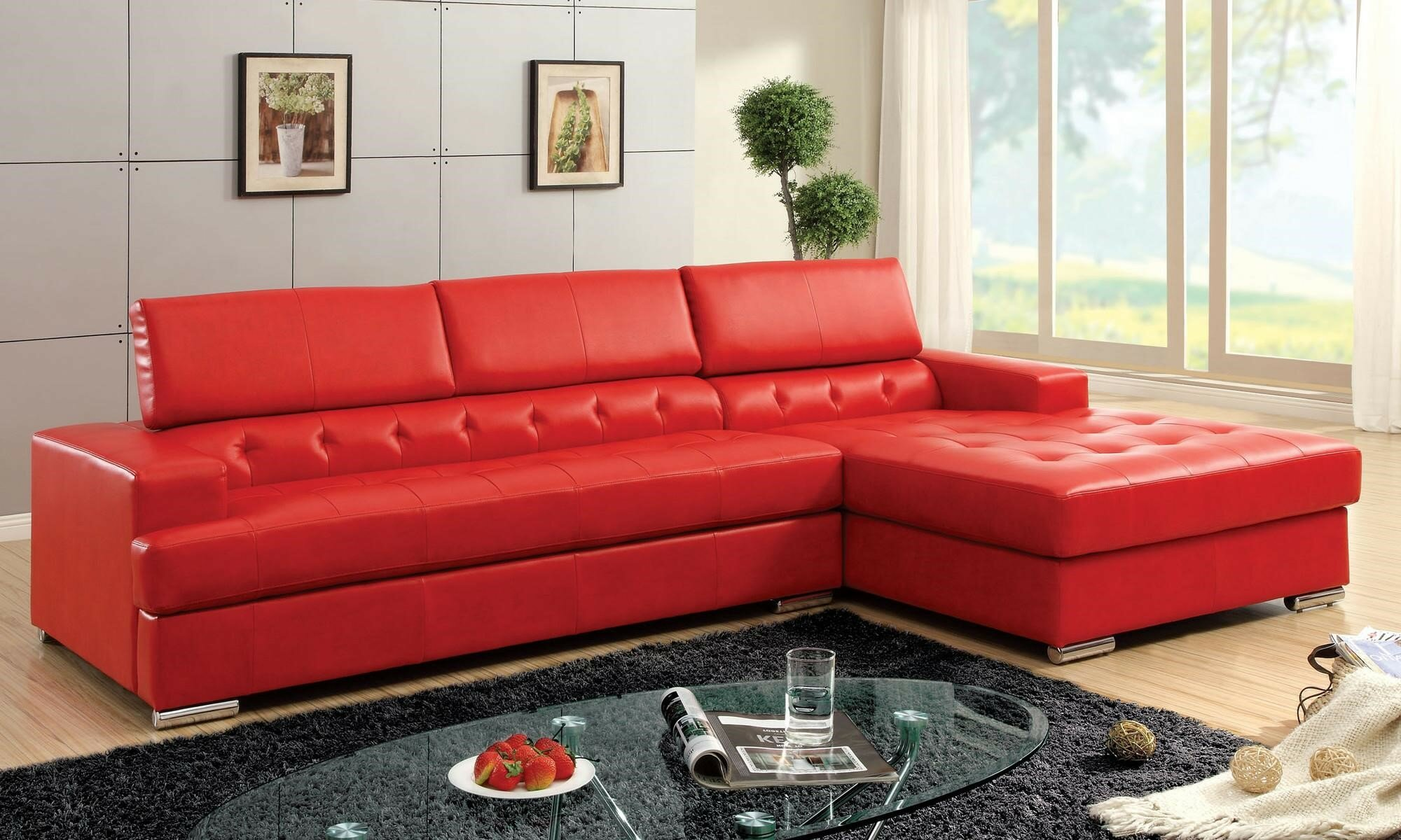 Sectional Microfiber Sofa | Red Sofa Sectional | Red Sectional Sofa
