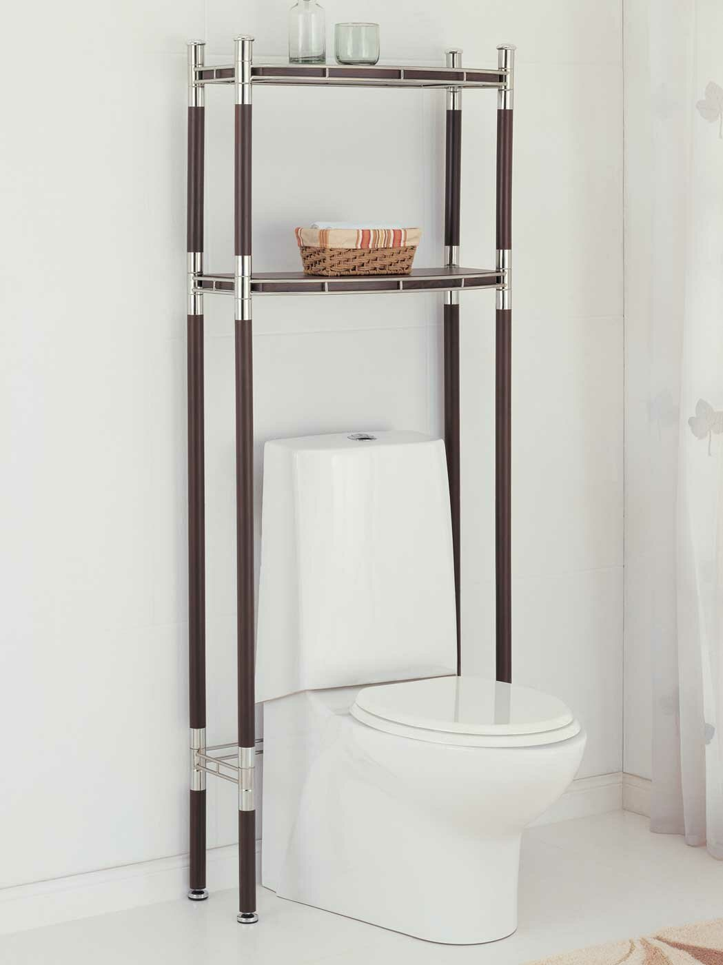 Bathroom bathroom space saver shelves toilet etagere for Bathroom cabinets above toilet