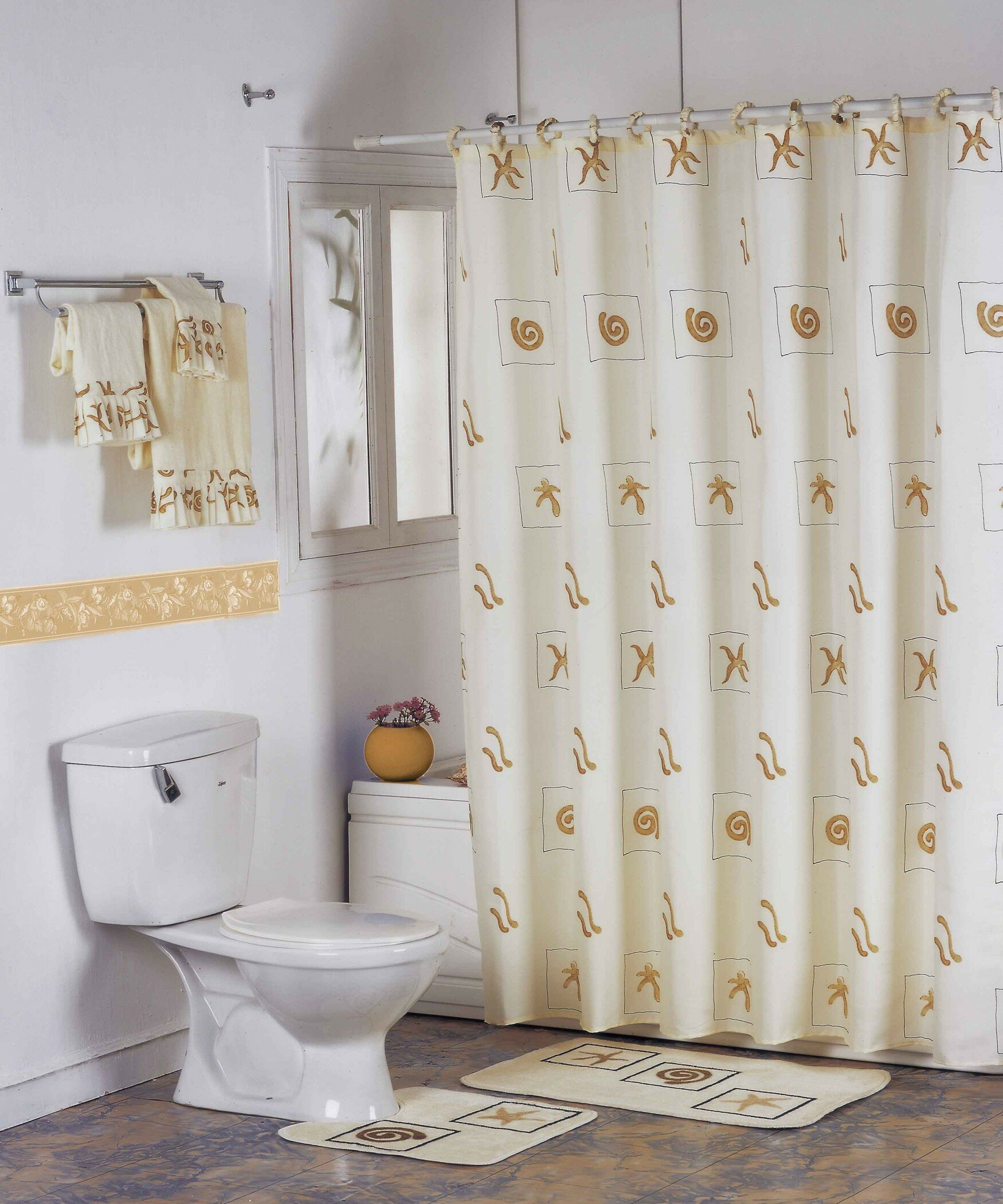 High End Shower Curtains | Brushed Nickel Curtain Rod | Restoration Hardware Shower Curtain