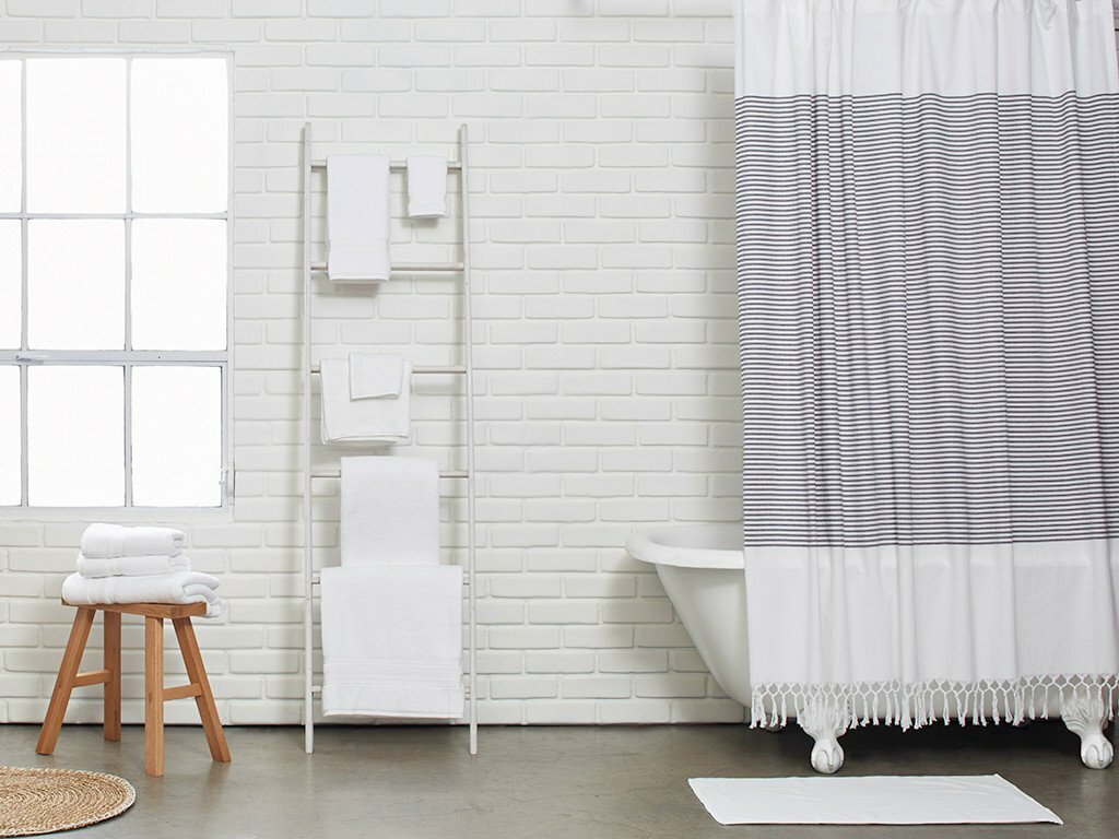 Interesting Bathroom Decor Ideas with Restoration Hardware Shower Curtain: Organic Shower Curtain | Restoration Hardware Shower Curtain | Linen Shower Curtain