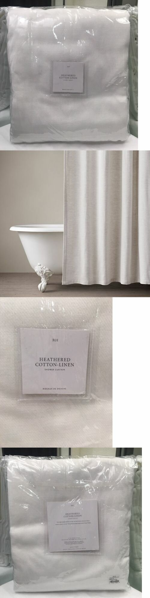 Interesting Bathroom Decor Ideas with Restoration Hardware Shower Curtain: Restoration Hardware Curtains | Chrome Shower Rod | Restoration Hardware Shower Curtain