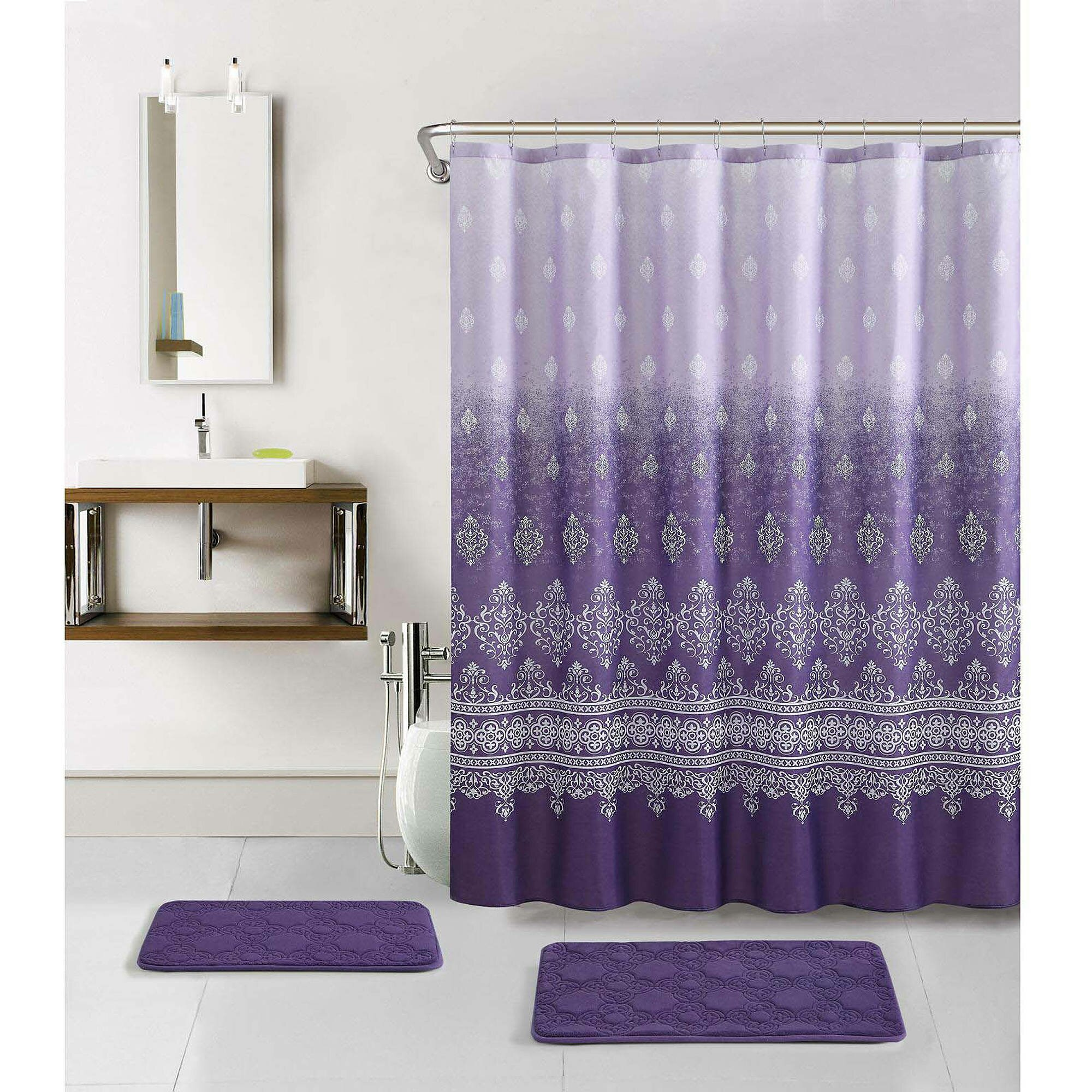 Curtain walmart shower curtain for cute your bathroom for Bath shower accessories