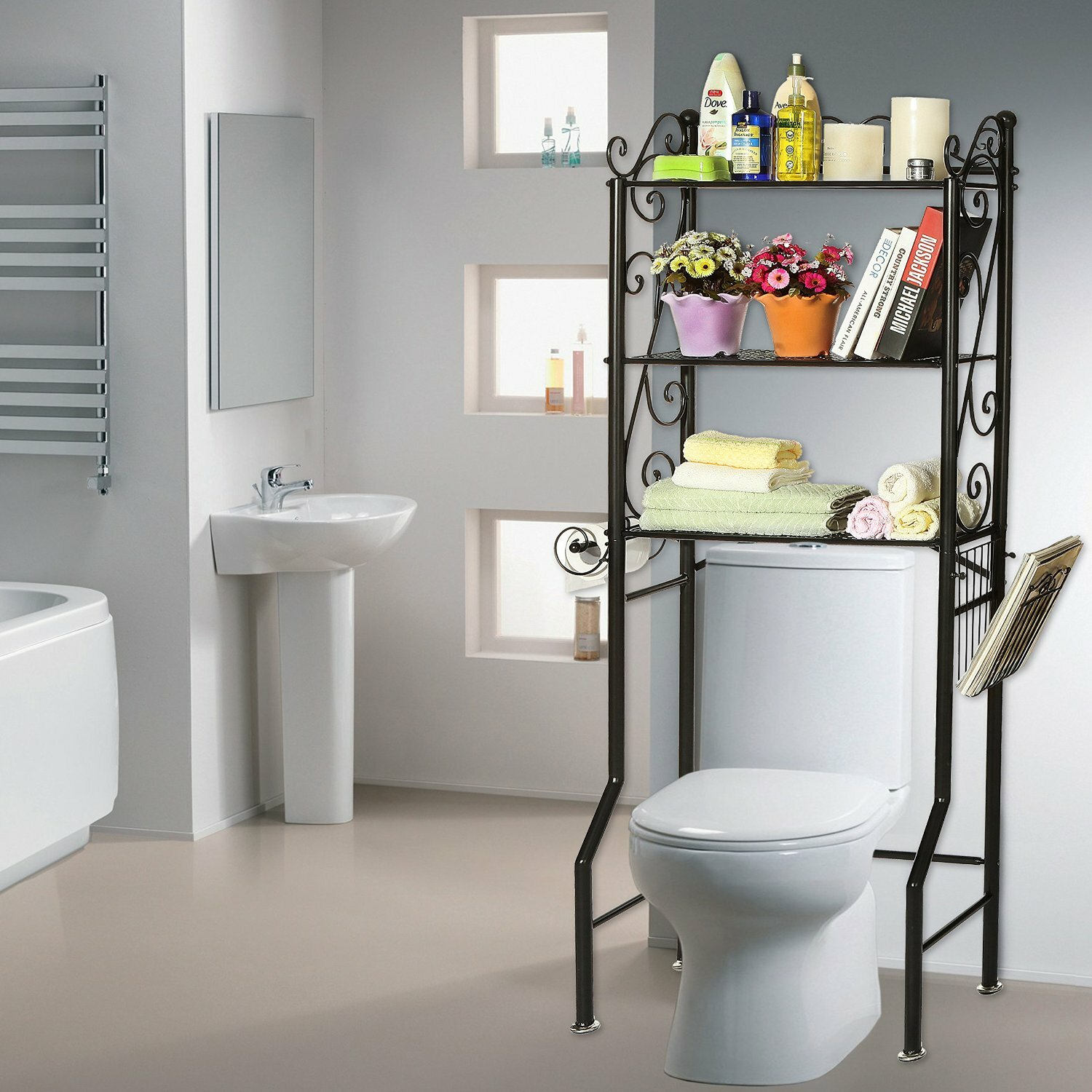 bathroom toilet etagere oak bathroom space saver over toilet over the toilet etagere ikea. Black Bedroom Furniture Sets. Home Design Ideas