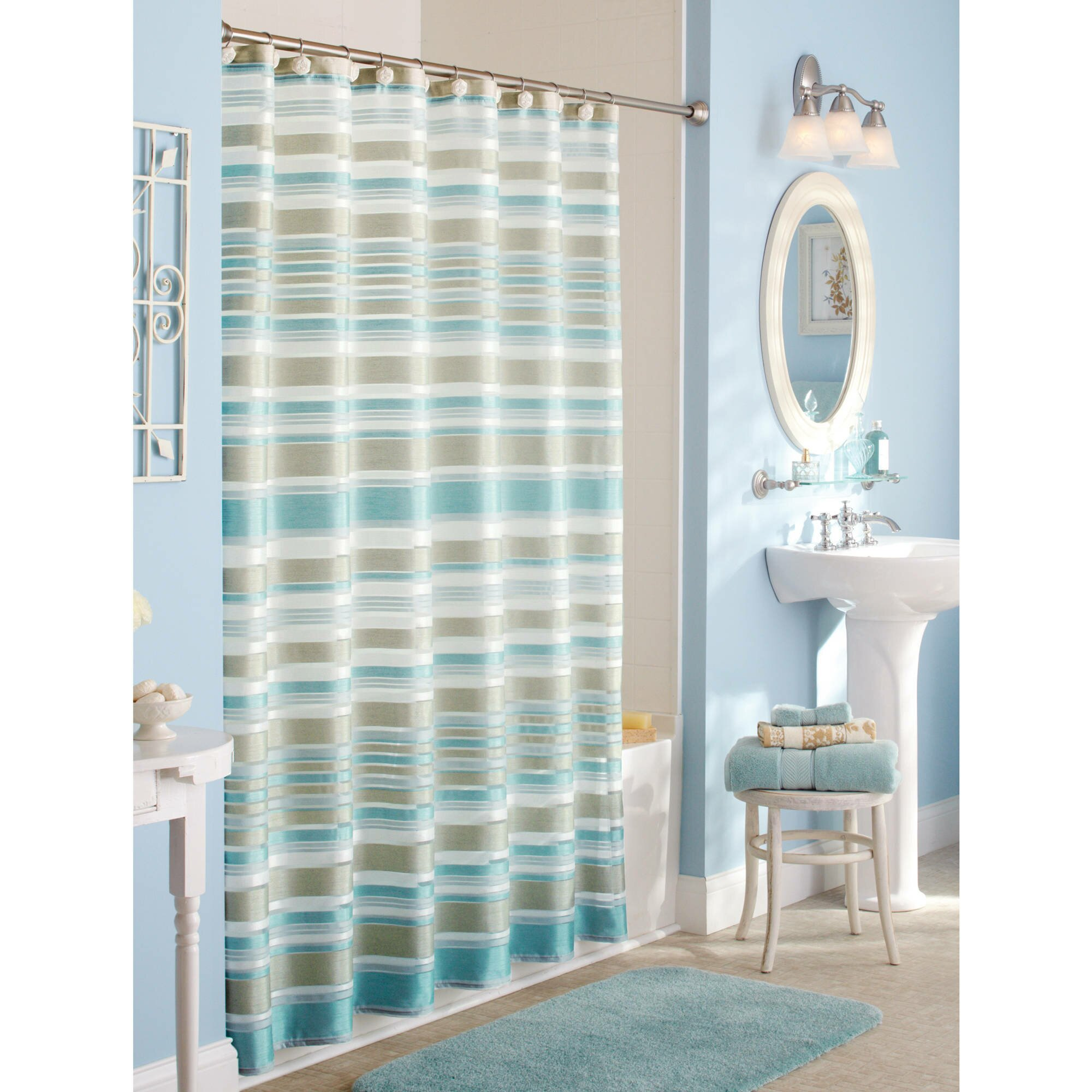 Walmart Shower Curtain for Cute Your Bathroom Decor Ideas: Wal Mart Shower Curtain | Corner Shower Curtain Rod Walmart | Walmart Shower Curtain