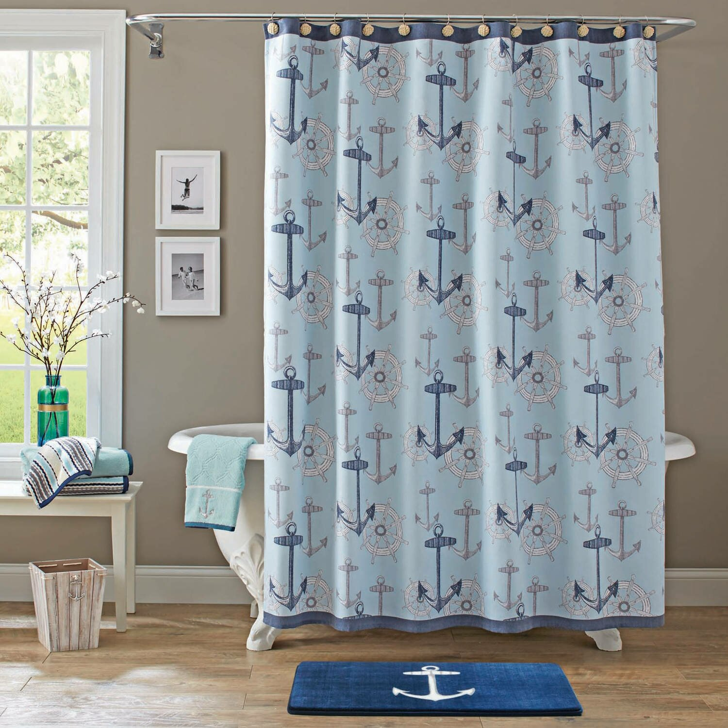 Walmart Shower Curtain | Navy Fabric Shower Curtain | Mainstays Shower  Curtain